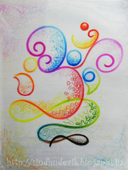 A colour pencil art og lord ganesha in Om symbol