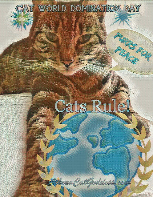 Cat art cat holding the globe in her paws for Cat World Domination Day
