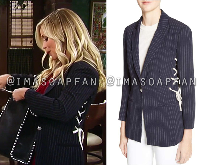 Lulu Spencer Falconeri, Emme Rylan, Navy Blue Striped Lace-Up Side Blazer, General Hospital, GH