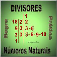 Esquema mostrando a regra prática de como obter o conjunto de todos os divisores do número 18.