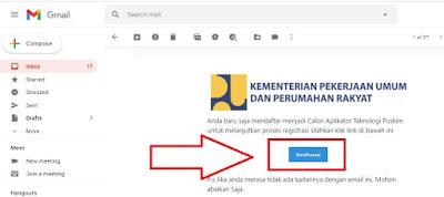 Tampilan konfirmasi akun di dalam email