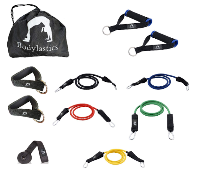 Bodylastics 12 pcs Max Tension Anti-Snap Resistance Bands Set with Door Anchor, Ankle Straps and Storage Bag
