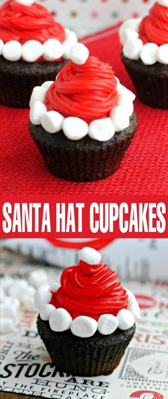 Santa Hat Cupcakes #DESSERT #CUPCAKES #CHRISTMAS #LOWCARB