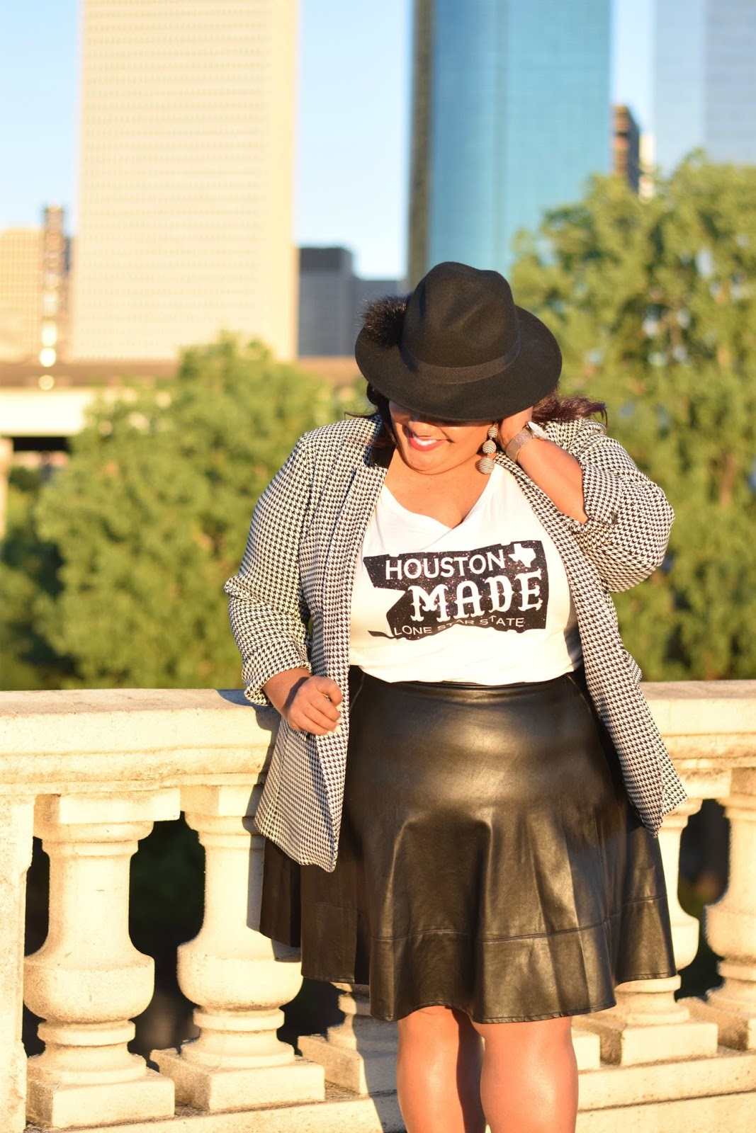 eb9921f5 ... Houston Made Graphic Tee with the Bryant Blazer from Lane Bryant and  black faux leather skirt. Keeping it simple, I completed the look with a  two-piece ...