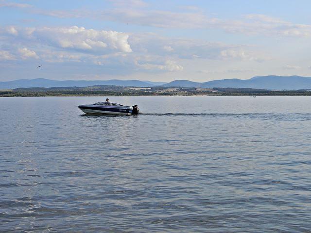 jezioro, łódź, góry, Nysa