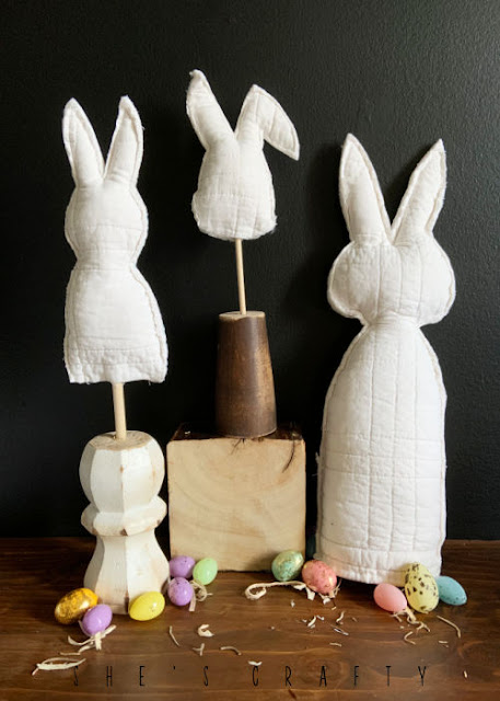 Fabric Easter Bunnies sitting in a group.