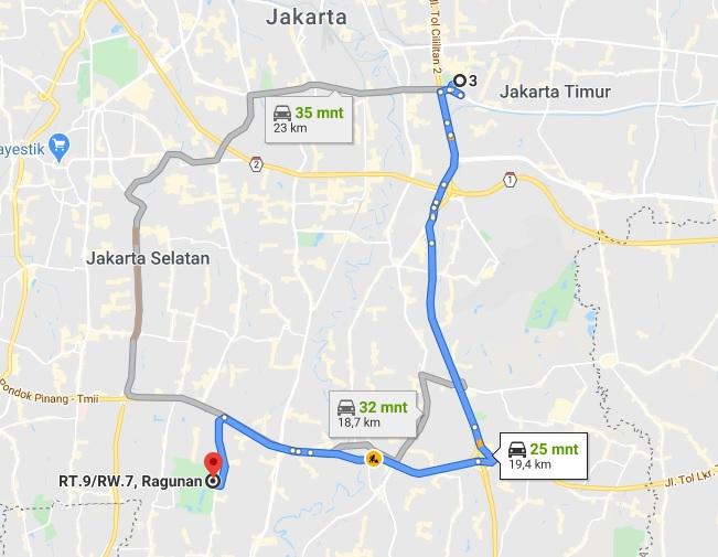 rute yang digambarkan Google di map