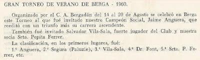 Fragmento de un boletín sobre el Torneo de Ajedrez de Berga 1960