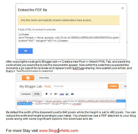 How To Embed PDF Or other Documents In Blogspot Blog Posts