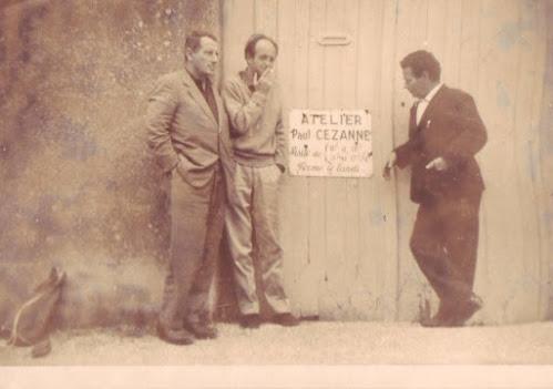 Morotti, Biamomto e Truzzi nel 1960 davanti all'atelier di Cezanne - Fonte: Joffre Truzzi