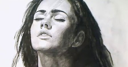 Megan Fox charcoal speed Drawing Video Lessons of