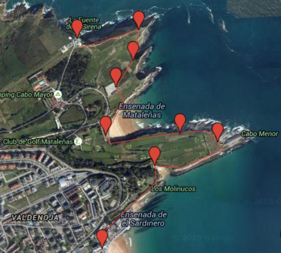 mapa senda Faro de Santander (Cantabria)