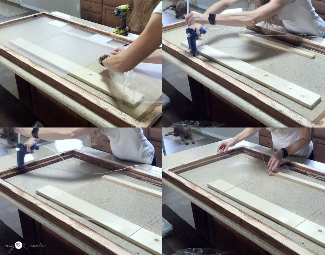 adding acrylic to the wood picture frame to allow floating pictures