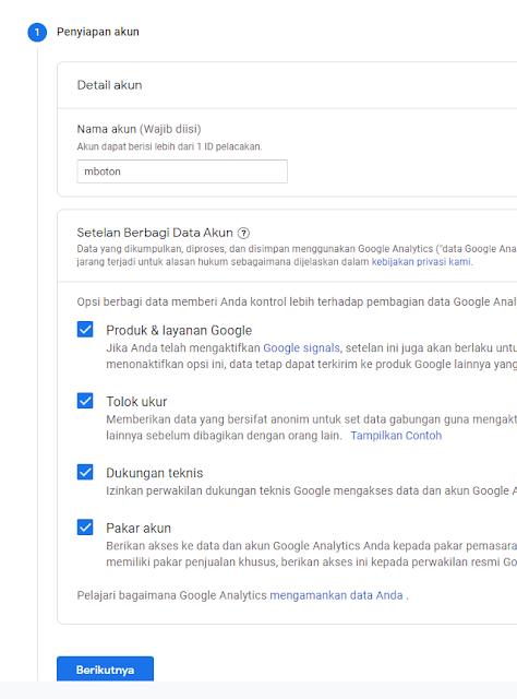 melihat ID pelacakan dan setting data akun yang berguna untuk mengkontrol data dari Google Analyics