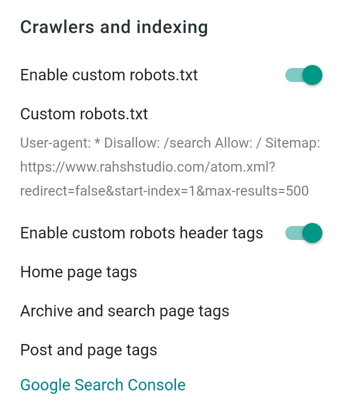 Blogger crawlers and indexing setting