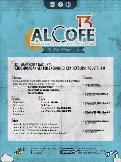 Lomba Karya Tulis Ilmiah Nasional ALCOFE 2019 Untuk Mahasiswa