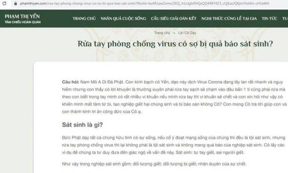 """Cô Yến – chùa Ba Vàng: """"Rửa tay phòng chống virus … là sát sinh?"""""""