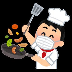 マスクを付けて料理をするシェフのイラスト(アジア人男性)