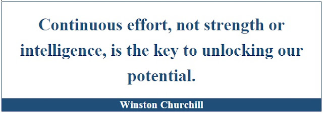"Winston Churchill Leadership Quotes: ""Continuous effort, not strength or intelligence, is the key to unlocking our potential."" - Winston Churchill"