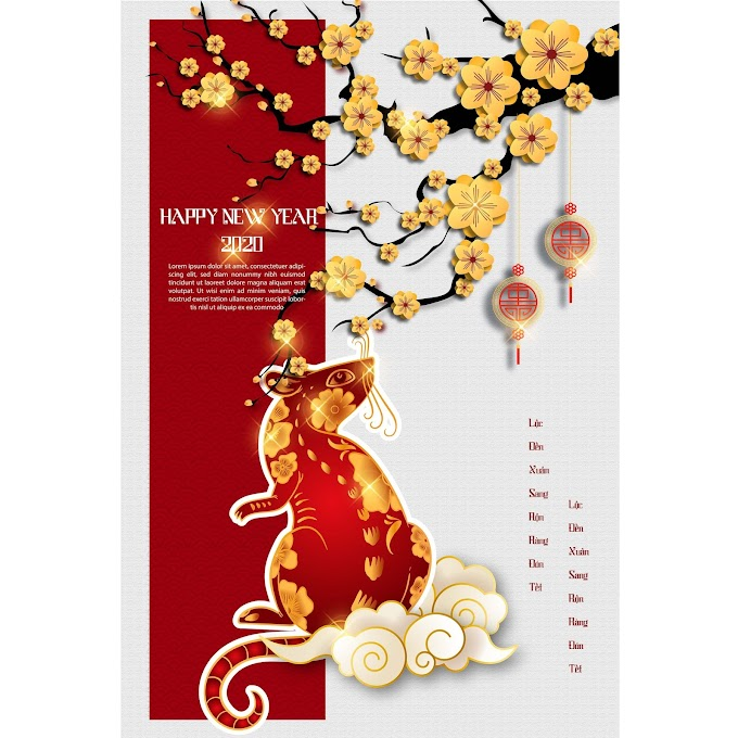 Happy new year 2020 year of the pig new year poster free vector