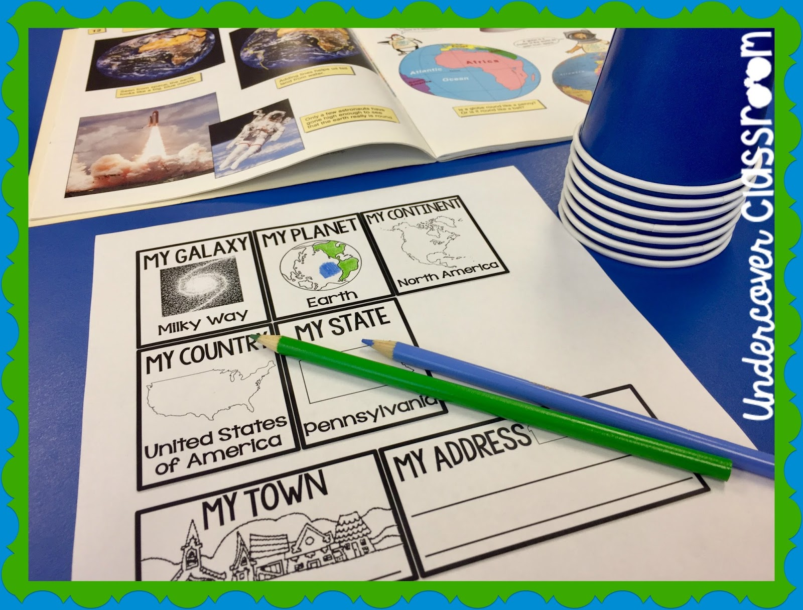 Use these stacking cups to teach your students a geography lesson about where exactly they live in the world.