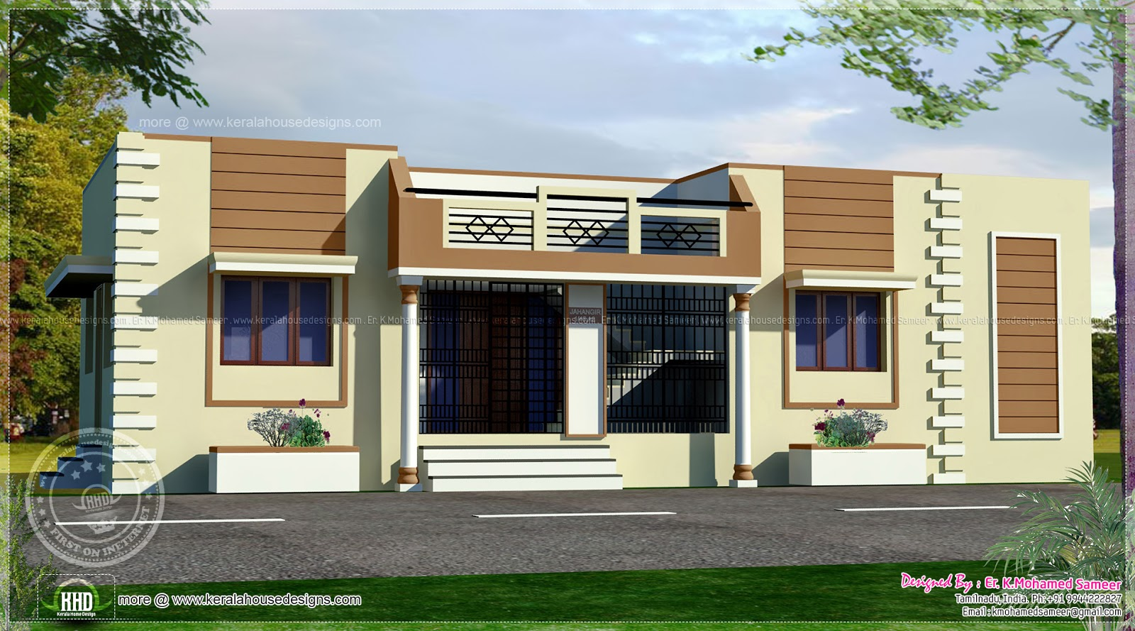 Tamilnadu style single floor home kerala home design and for Home models in tamilnadu pictures