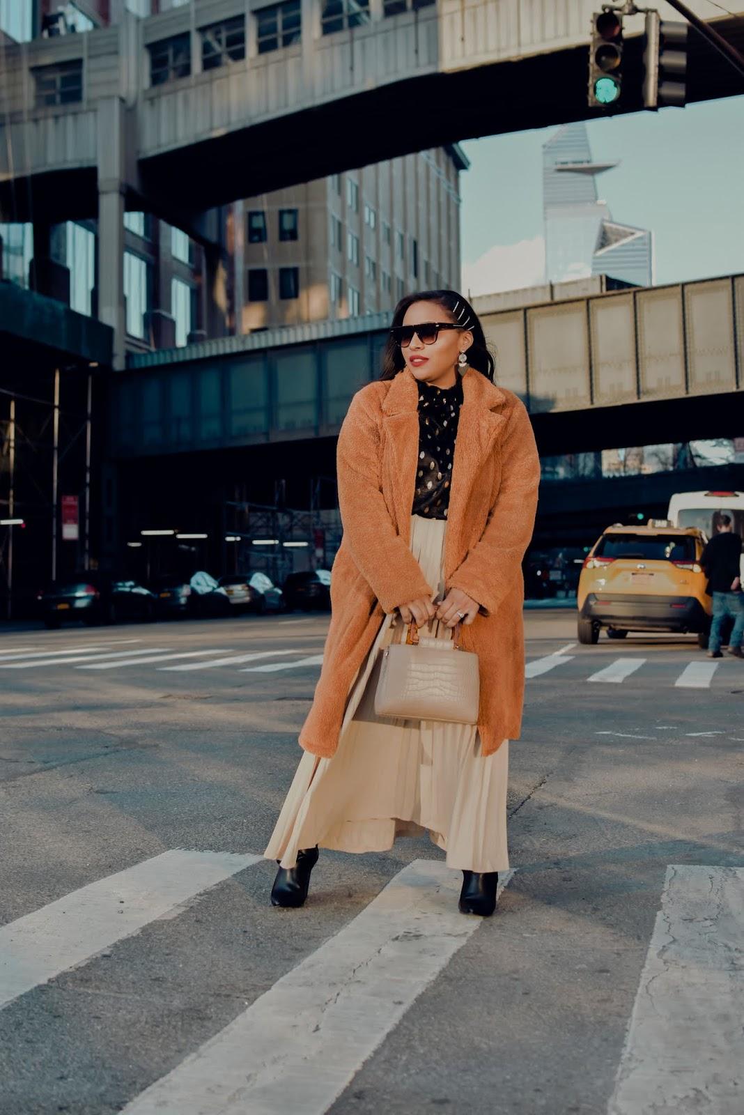nyfw, nyfwstreetstyle, nyfw, fall winter 2020 trends, fashion week, nyfw20, custo barcelona, hakkan akaya, rebecca minkoff, shein, pleated skirt trend
