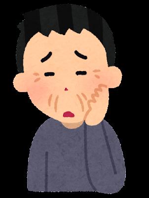 顔のシワを気にする人のイラスト(男性)