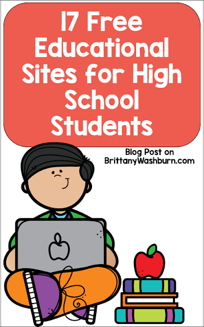These are some of the top free educational sites for high school.  I've focused here on websites you can let your students roam free on because the entire site is filled with educational tools to equip your students for academic success.