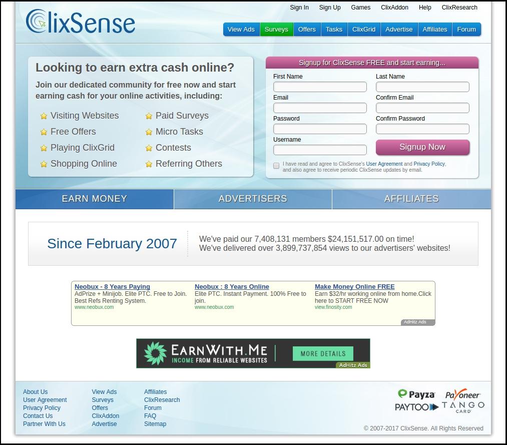 ClixSense-home-page