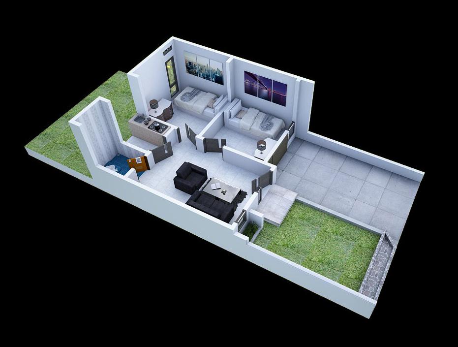 Denah 3d Rumah Minimalis Type 36 2 Kamar Tidur Mahesa Ageng