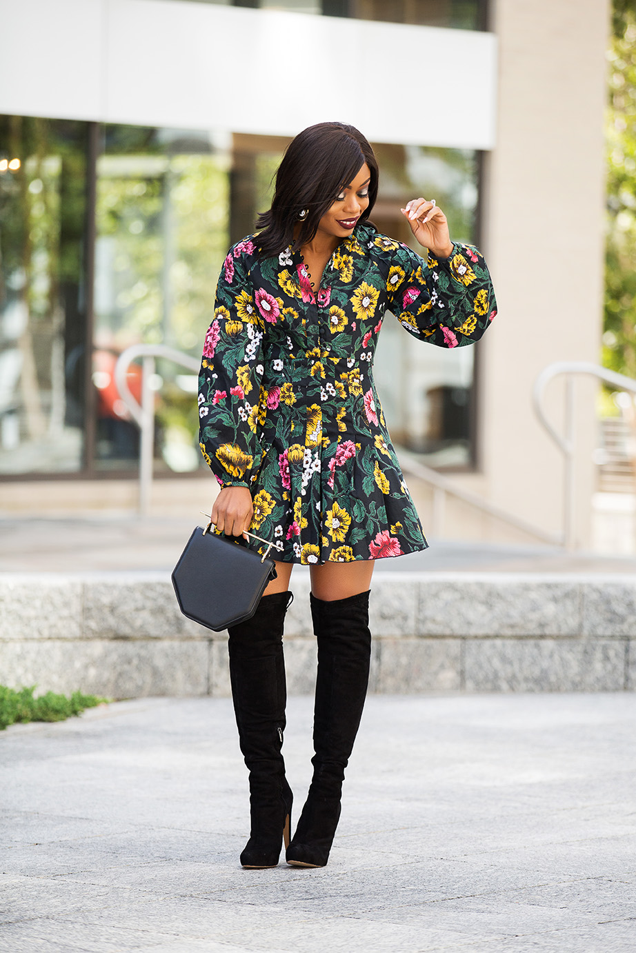 dark floral for fall, OTK boots, www.jadore-fashion.com