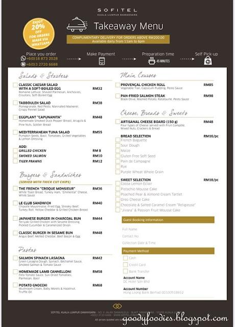 Sofitel KL mco takeaway menu