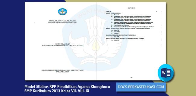 Model Silabus RPP Pendidikan Agama Khonghucu dan Budi Pekerti SMP Kurikulum 2013 Kelas VII, VIII, IX