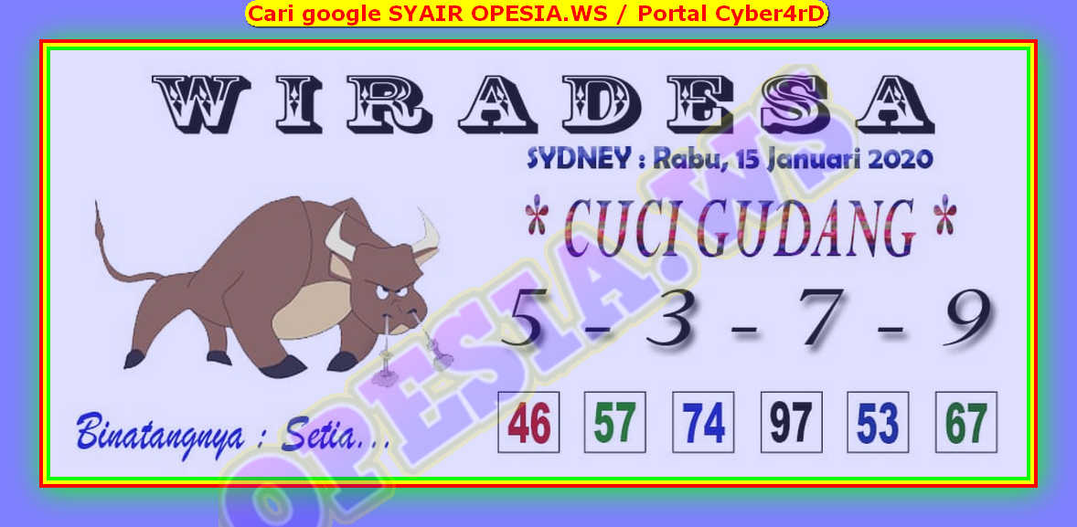 Kode syair Sydney Rabu 15 Januari 2020 3