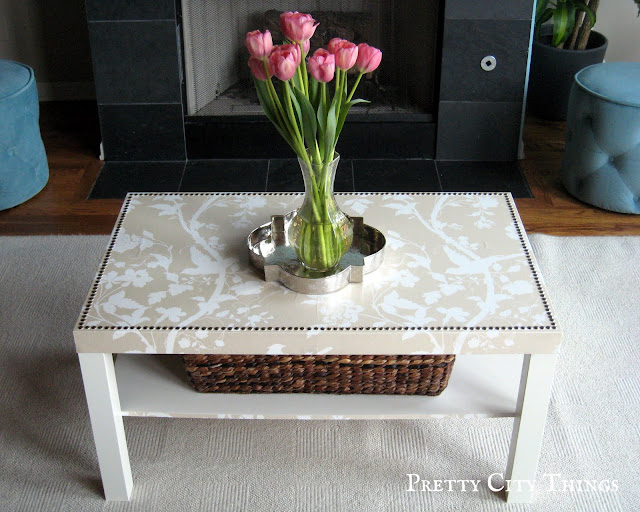 Ikea Goes Glam: Lack Coffee Table Makeover with Wallpaper and Nail Head Trim