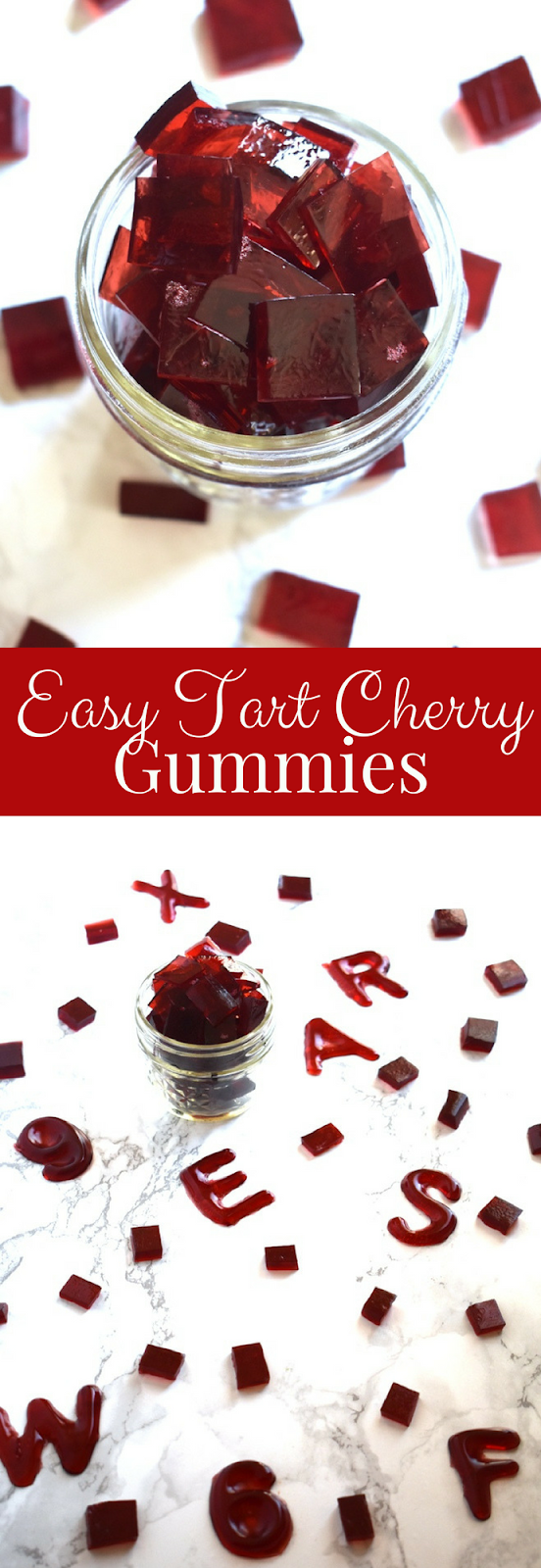 Easy Tart Cherry Gummies taste like sour candy, only require 3 ingredients, have no-added sugar, are ready in just 15 minutes, require no-cooking and are healthier than store bought gummies! www.nutritionistreviews.com