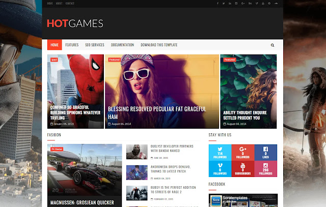 Hot Games Responsive Magazine News Sites Tech Blog Gaming Blog Blogger Template Theme