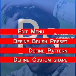 Photoshop Edit Menu, Define Brush Preset, Define Pattern, Define Custom shape, in Edit Menu Hindi Notes, use of custom shape tool in hindi - how to use custom shap, photoshop tools, फोटोशॉप के टूल्स, Hoe to use edit menu, menu bar hindi
