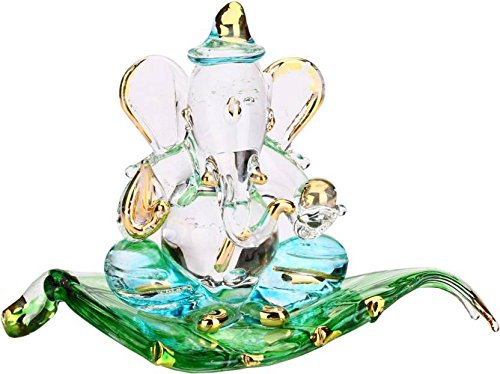 Gold plated Crystal Gift God, Leaf Ganesh idols and Figurine, Standard(Multicolour)