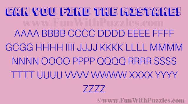 Can you find the mistake AAAA BBBB CCCC DDDD EEEE FFFF GCGG HHHH IIII JJJJ KKKK LLLL MMMM