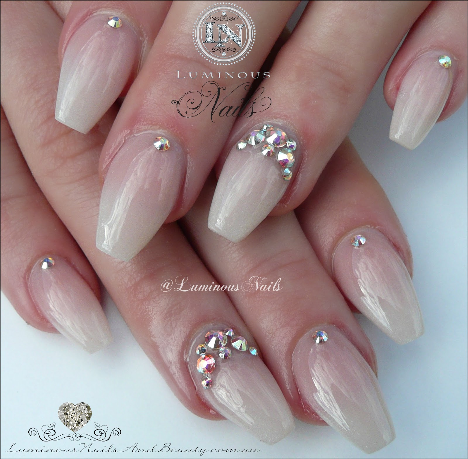 Luminous Nails: Soft Metallic Acrylic Pearl Wedding Nails with ...