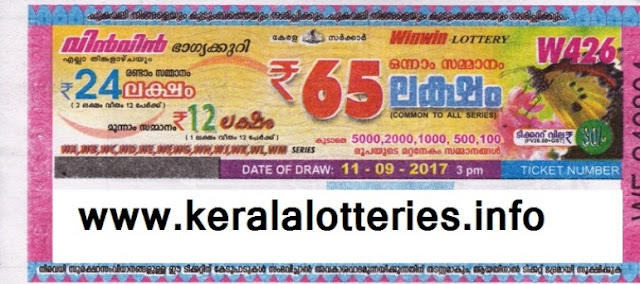 KERALA LOTTERY - WIN WIN (W-426) on 11.09.2017