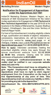 IOCL Western Region Recruitment 2020 500 Trade Technician Accountant Apprentice Govt Jobs Notification