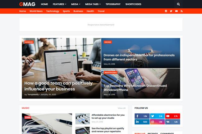 Template Blogger Gmag 1.3.0 Premium Terbaru