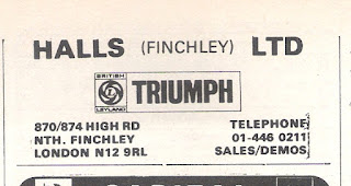 Hallls of Finchley advert from Motor 05 May 1973