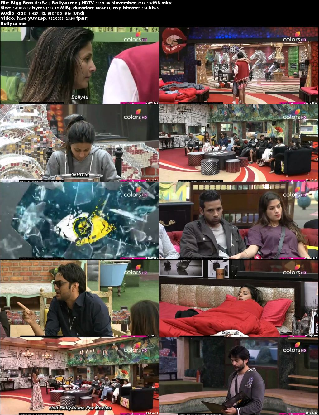Bigg Boss S11E61 HDTV 140MB 480p 30 November 2017 Download