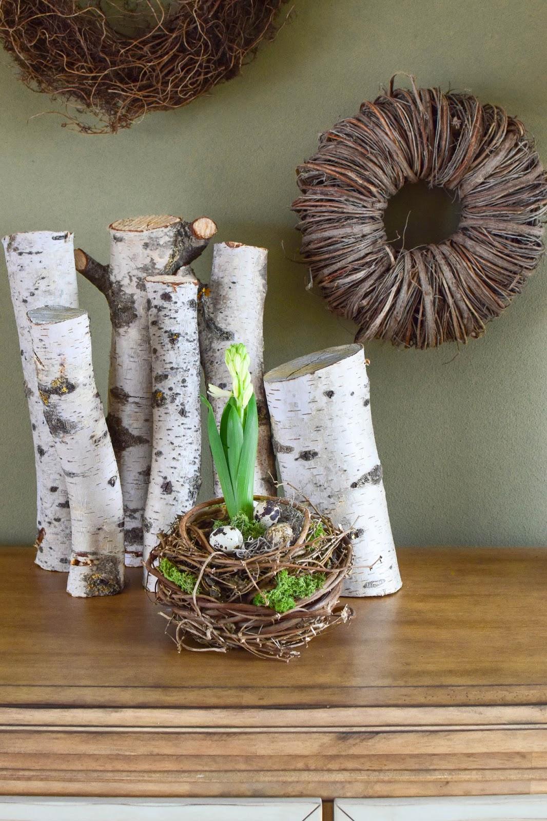 DIY Frühlingsdeko: Frühlingsnest mit Hyazinthe, Moos und Wachteleier, Deko, Dekoidee, Dekoration