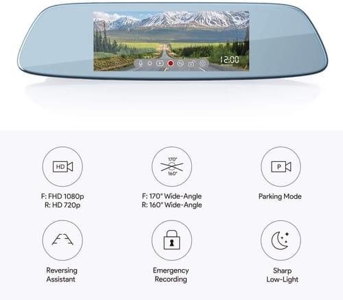 AUKEY DRA2 Touchscreen Mirror Dash Cam Dual