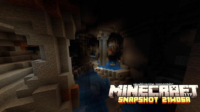 Imagem principal: Caverna e um Creeper em um barco